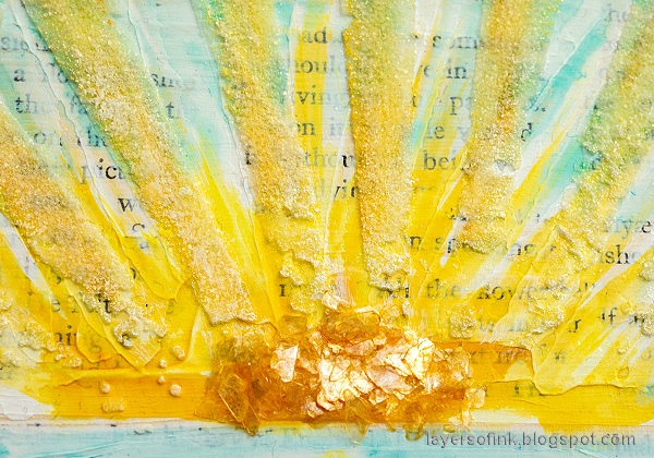 Layers of ink - Sunny Ocean and Beach Mixed Media Scene Tutorial by Anna-Karin Evaldsson. Acrylic paint, paste and glitter sun rays. Mica flakes for the sun.