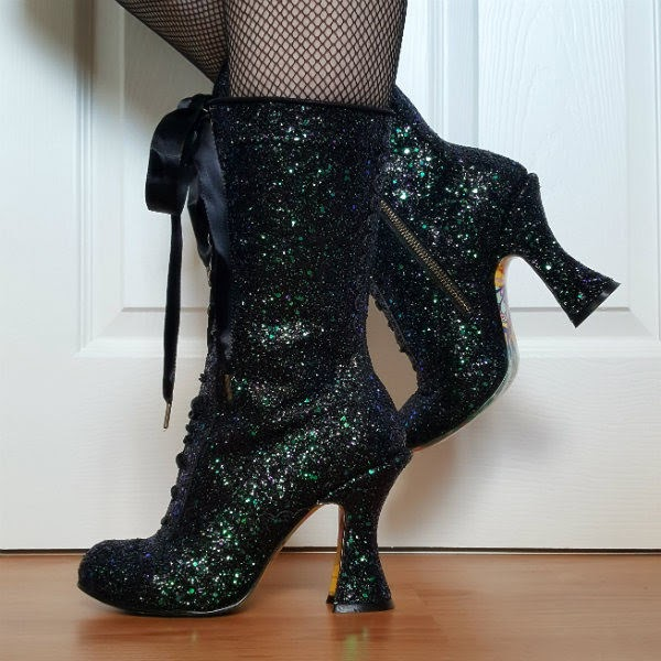 Gothic Victorian glitter calf boots with ribbon ties
