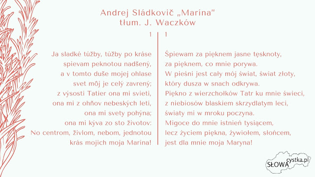 Andrej Sladkovic Marina strofa 1 tlumaczenie Jozef Waczkow