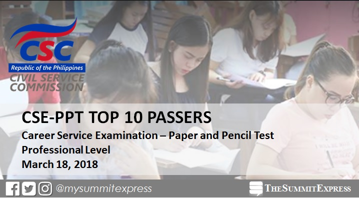TOP 10 PASSERS: March 2018 Civil Service Exam Professional Level results
