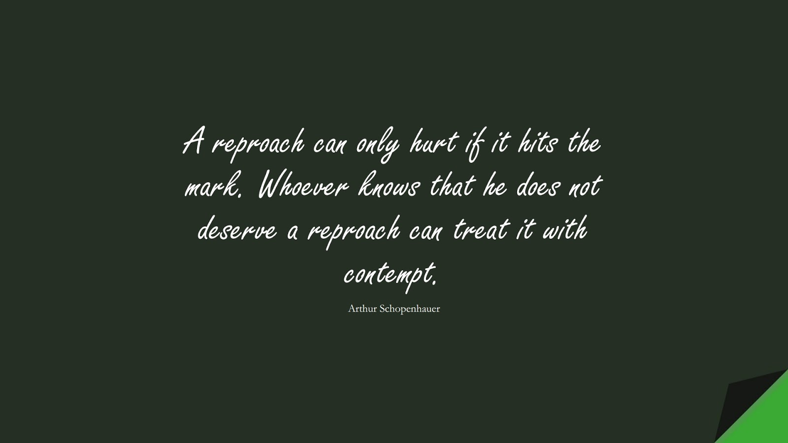 A reproach can only hurt if it hits the mark. Whoever knows that he does not deserve a reproach can treat it with contempt. (Arthur Schopenhauer);  #BeingStrongQuotes