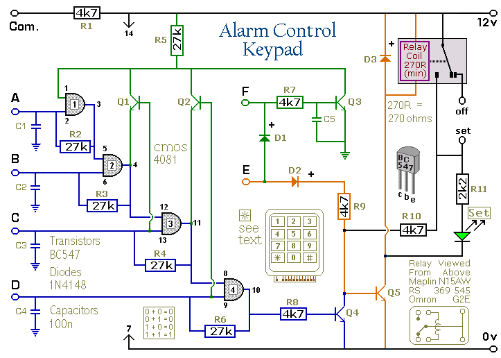 Wiring Schematic Diagram: 4-Digit Alarm Control Keypad