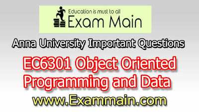 EC6301 Object Oriented Programming and Data Structures | Important  Questions | Question bank | Syllabus | Model and Previous Question papers | Download PDF