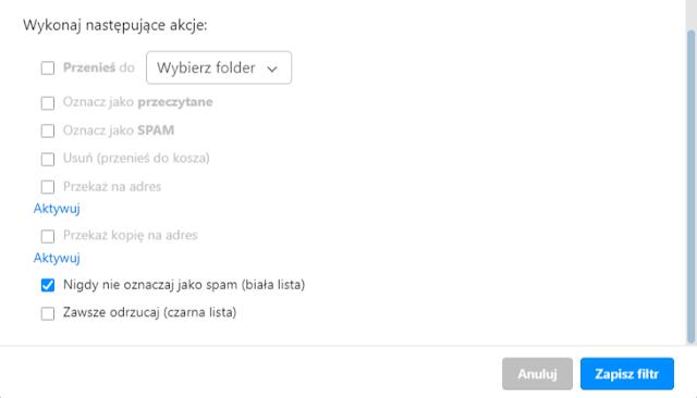 Jak na poczcie o2.pl dodać adres do białej listy