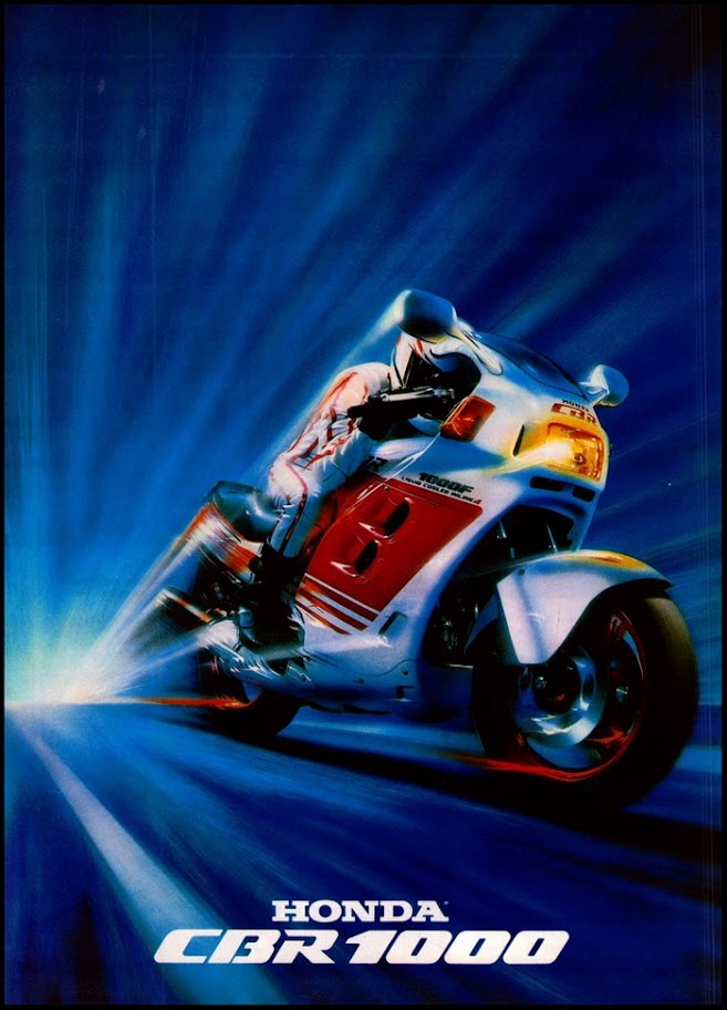 Airbrush print advertisement for Honda's first generation CBR1000F Hurricane from about '87 or '88