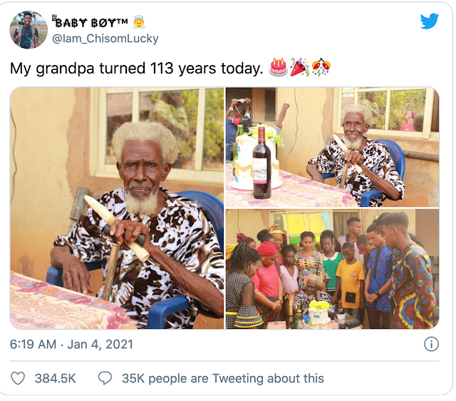 Nigerian man celebrates his 113th birthday with lots of children,grand and great grand children