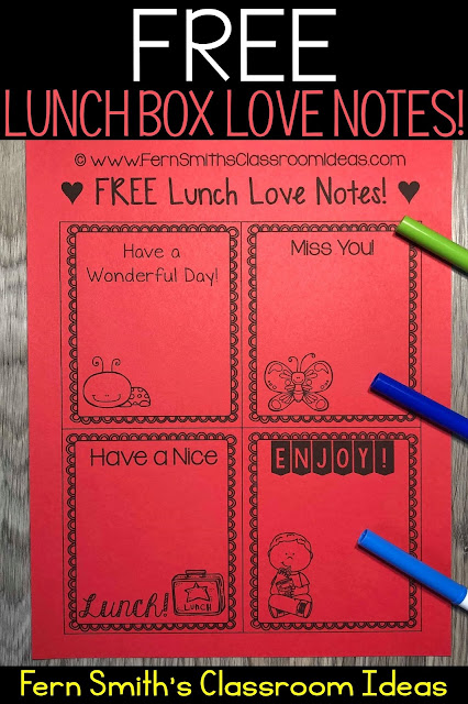 Perfect for Back to School Free Back to School Lunch Box Love Notes For Home OR School from Fern Smith' of #FernSmithsClassroomIdeas
