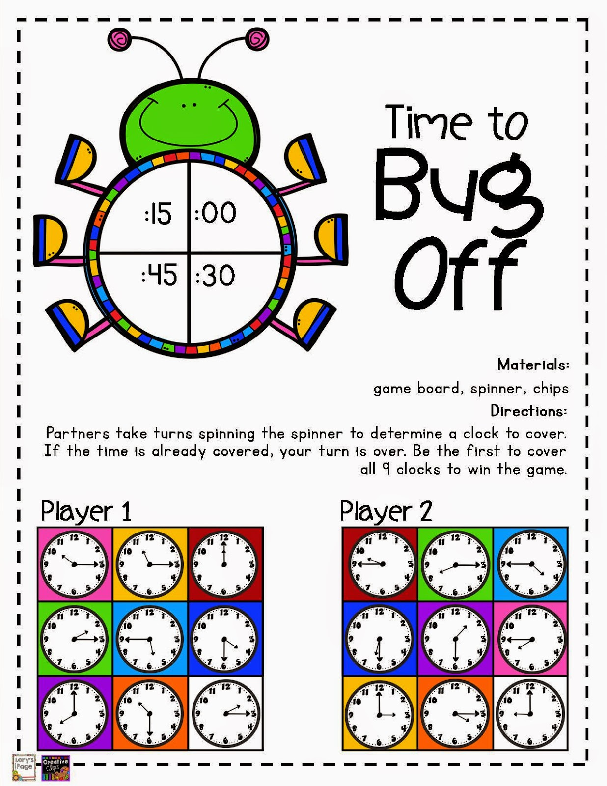 Lory S 2nd Grade Skills Telling Time Game Boards