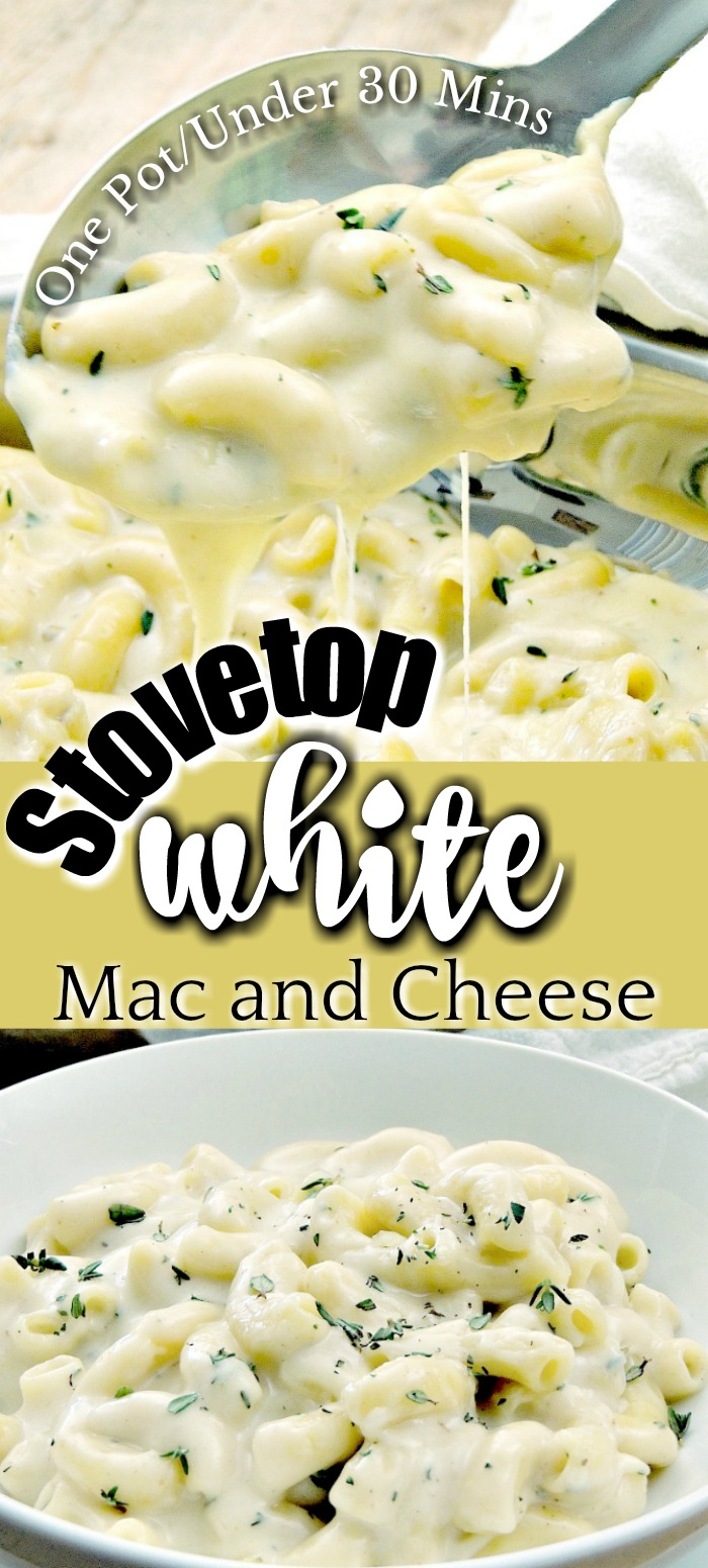 This Stove Top White Mac and Cheese recipe is so luscious and cheesy, only uses one pot, and is done in less than 30 minutes. Who needs a box when you can have this? #vegetarian #onepot #onepan #easyrecipe #30minuterecipe #pasta #macandcheese | bobbiskozykitchen