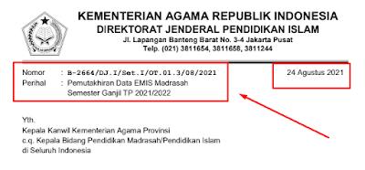 Surat Edaran Pemutakhiran EMIS Madrasah Semester Ganjil Tapel 2021/2022