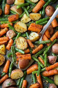 This simple vegetable blend of potatoes, carrots and green beans is seasoned with a delicious garlic and fresh herb blend then roasted to perfection. It's an excellent go-to side dish that pairs well with just about anything!