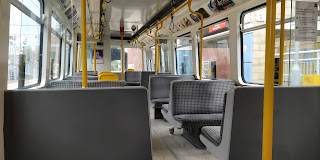 Interior of a Tyne and Wear Metro train.