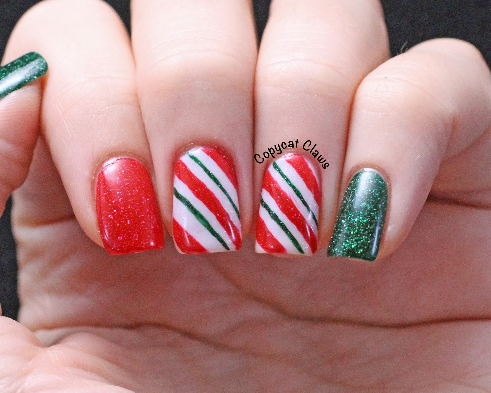 Copycat claws picture polish candy cane nail art i wanted to use picture polish kryptonite ohara and white wedding together because i thought they made the perfect christmas combo prinsesfo Choice Image