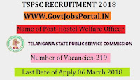 Telangana State Public Service Commission Recruitment 2018– 219 Hostel Welfare Officer