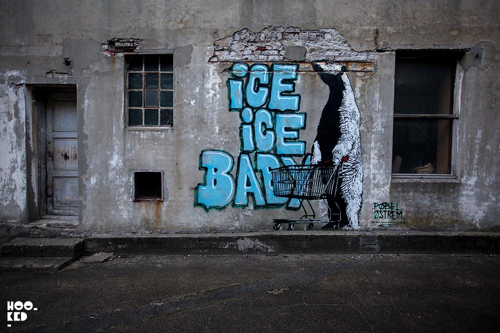 Norwegian Street Artist Pole Stencil work in Stavanger, Norway, Photo ©Mark Rigney / Hookedblog