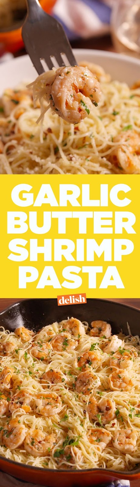 Impress your friends with this super easy recipe for garlic butter shrimp angel hair from Delish.com.