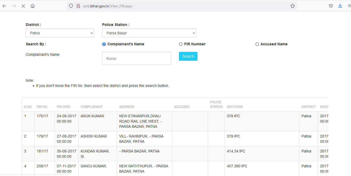 Search First Information Report (FIR) Details of Bihar Police Station
