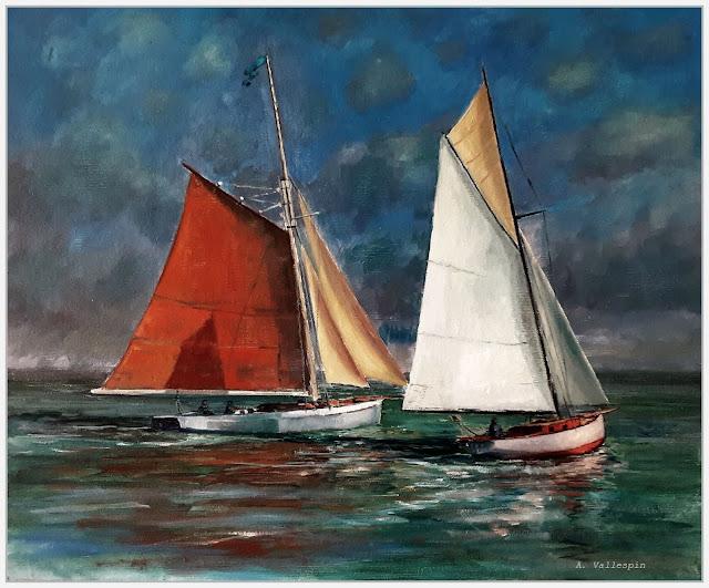Cuadro de dos veleros pintado al óleo