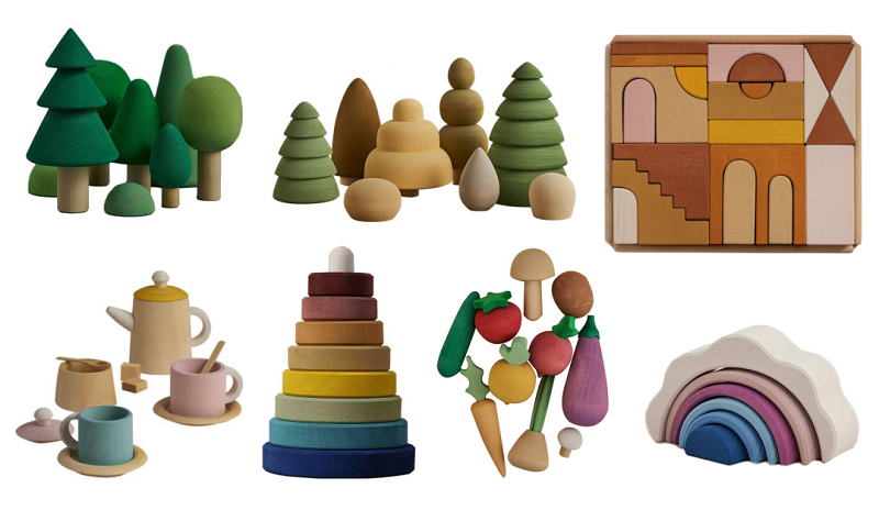 raduga grez wooden toy tea set, stackers, forest sets and apartment blocks