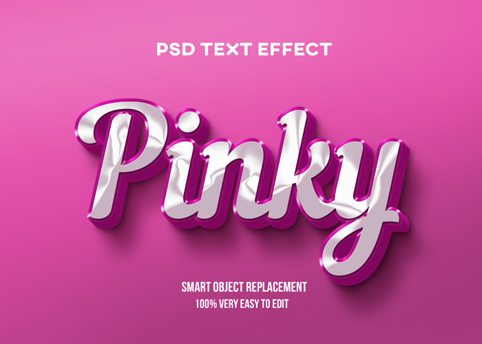 Pinky Glossy Text Effect PSD Mockup