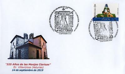 Sobre con el matasellos del 325 aniversario de las Clarisas en Villaviciosa, Asturias