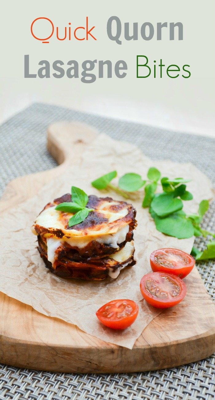 Quick veggie lasagne bites made with Quorn mince, mushrooms, ready made cheese sauce, tomato sauce and grated mozzarella. This one is all about the short-cuts, but big flavours.