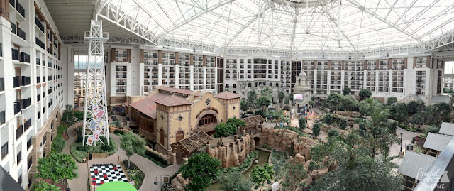 The panoramic view from the private balcony of a Center Atrium view guest room at the Gaylord Texan Resort.