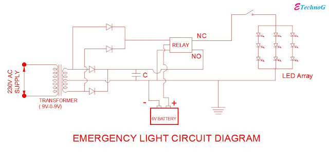 Auto ON/OFF Rechargeable Emergency light circuit diagram