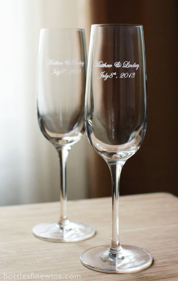 personalized etched champagne glass wedding