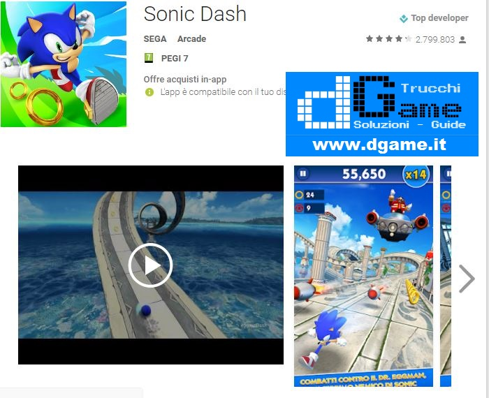 Trucchi Sonic Dash Mod Apk Android v3.5.1.Go