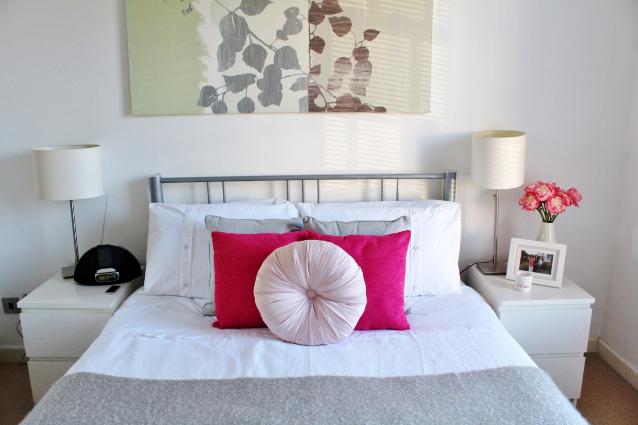 Pink, white and grey bedroom
