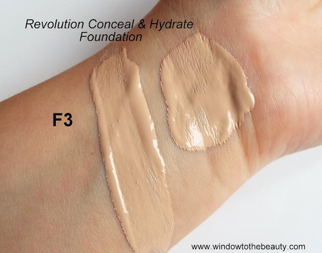 Revolution Conceal & Hydrate shade range swatches