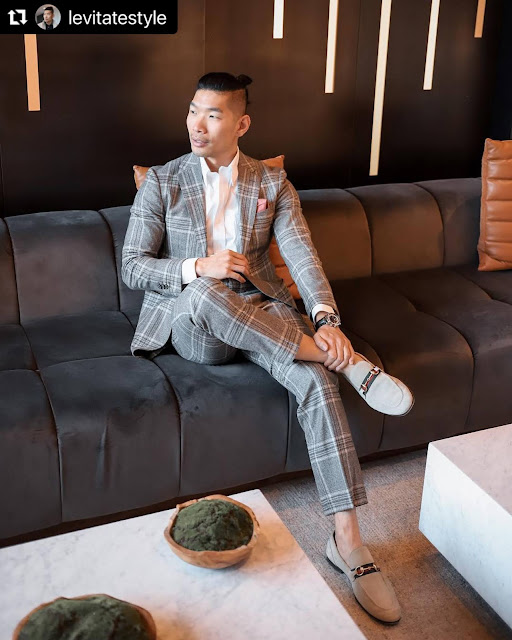 8 Valentine's Day Outfits for Men - Grey Plaid Suit from Suit Supply