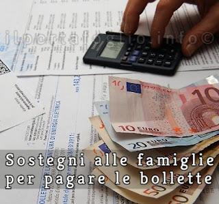 sostegni alle famiglie per pagare le bollette