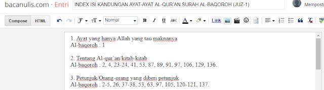 INDEX ISI KANDUNGAN AYAT-AYAT AL-QUR'AN SURAH AL-BAQOROH