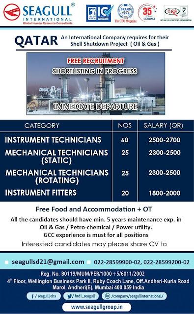 Instrumentation & Mechanical (Static & Rotating) Technicians Jobs in Qatar : Seagull International Gulfwalkin
