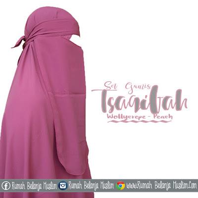 Model Jilbab Gamis Tsaqifah Wollycrepe Peach