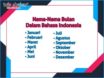Daftar Nama Nama Bulan Dalam Bahasa Indonesia