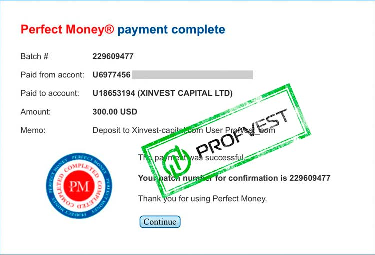 Депозит в Xinvest Capital