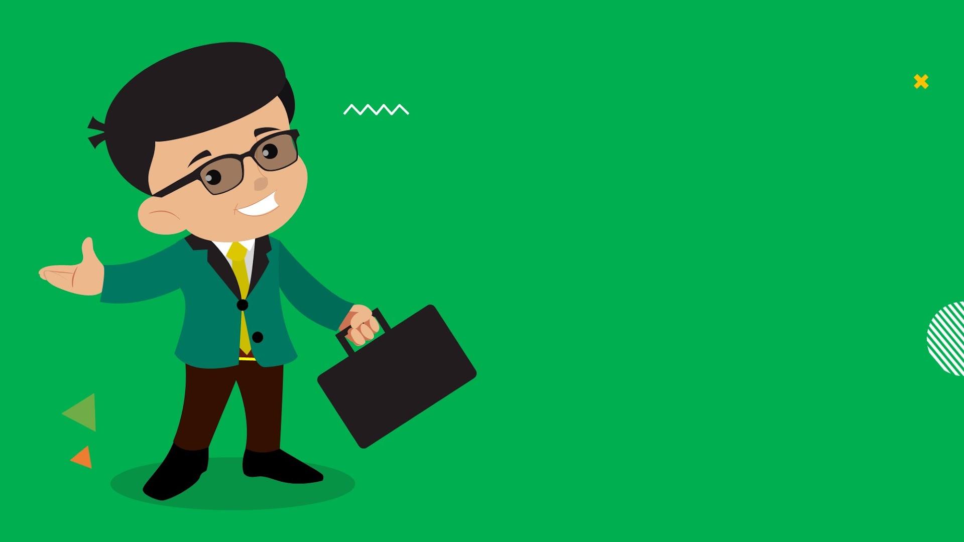 Cartoon Salesman - free background for Presentations