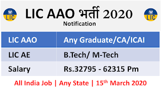 LIC  AE & AAO Online Application – 218 Vacancies 2020