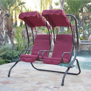 BELLEZZA Outdoor Patio Swing Set 2 Person Armrest Steel Seat Padded With Canopy- Burgundy