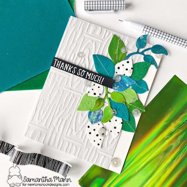 Newton's Nook Designs & Therm O Web Inspiration Week | Thank You card with Leaves by Samantha Mann | Flower Trio Die Set, Beautiful Leaves Die Set, Floral Roundabout Stamp Set and Hardwood Stencil by Newton's Nook Designs with Flocks & Foils by Therm O Web #newtonsnook #handmade