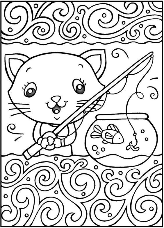 Tranh tô màu con mèo câu cá