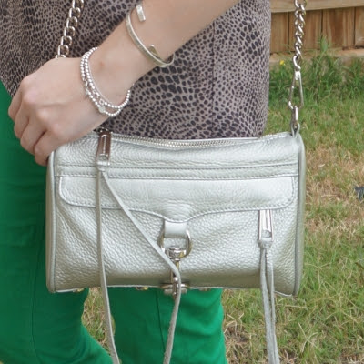 Rebecca Minkoff metallic silver mini MAC wih green jeans | awayfromtheblue