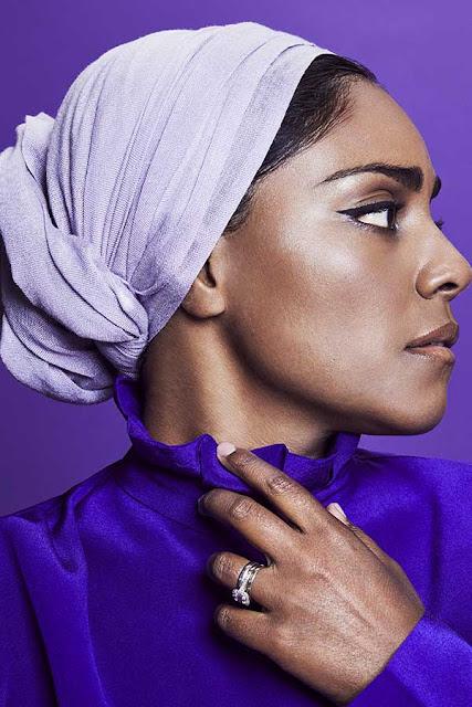 Nadiya Hussain wearing a pashmina by MYPASHMINA