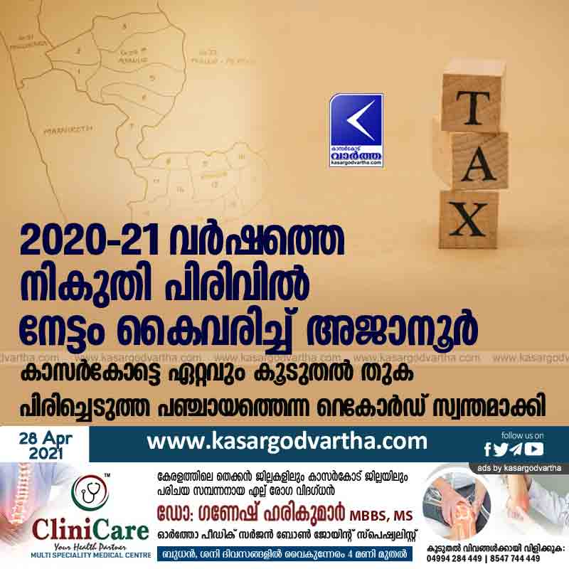 Ajanur achieves record tax collection for 2020-21 in Kasaragod