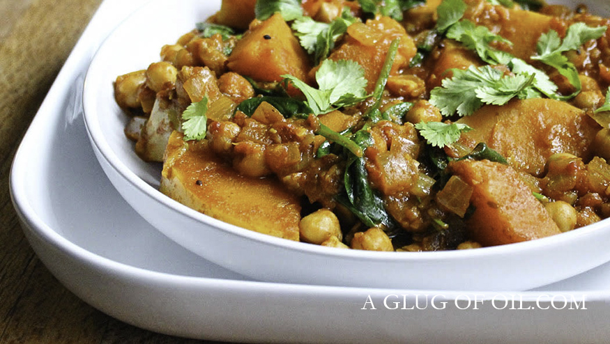 Butternut Squash Chickpea and Spinach Curry