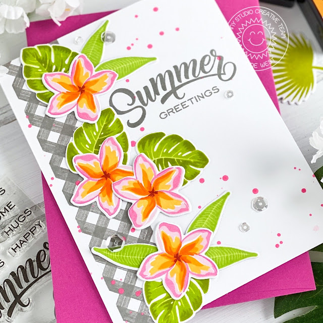 Sunny Studio Stamps: Radiant Plumeria Summer Themed Card by Leanne Wes
