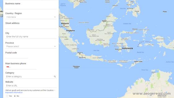 Formulir Pendaftaran Lokasi Bisnis di Google Maps